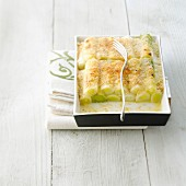 Leek and Beaufort cheese-topped dish