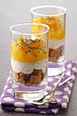 Layered gingerbread, yoghurt and orange Verrines with poppyseeds
