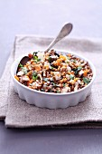 Spelt with mushrooms, dried apricots and cilantro