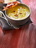 Salsify soup with crisp bacon