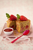 Strawberry,pistachio and fresh mint cake with strawberry puree