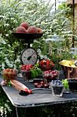 Verschiedene Zutaten für sommerliche Marmelade
