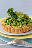 Avocado and spring vegetable tartlet