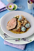Leg of lamb ,white haricot beans and garlic stuffed with parsley cream