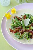 Asparagus,parmesan,crisp bacon and rocket lettuce salad