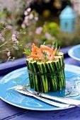 Mini zucchini,shrimp and tarragon Charlotte