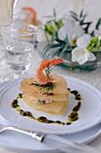 Filo pastry and shrimp Mille-feuille with dill