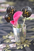 Chocolate and candied fruit lollipops