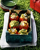 Tomatoes stuffed with pasta,octopus and pesto