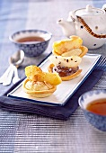 Apple-pear and chocolate-pear tartlets