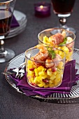 Roasted Dublin Bay prawns wrapped in bacon and diced mangoes with lemon vinaigrette