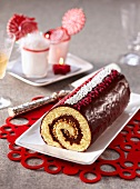 Chocolate and almond rolled log cake