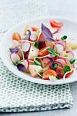 White peach,radish and cherry tomato salad