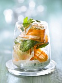 Fresh fennel,carrot and spinach salad with yoghurt sauce