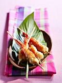 Shrimp and coconut brochettes