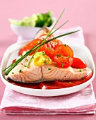 Steamed salmon with red and cherry tomatoes