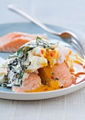 Salmon with spinach and a soft-boiled egg
