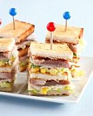 Half-cooked tuna and sweetcorn club sandwiches