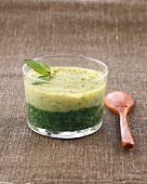 Spinach,basil and zucchini mousse