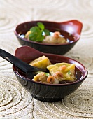 Shrimp ravioli soup