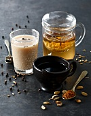 Cardamom coffee,spicy infusion and milk tea with cloves and pepper