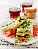 Cheese and herb rolled omelette