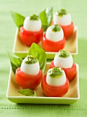 Tomatoes stuffed with quail's eggs and pistou
