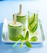 Cucumber and mint iced lollipops ,lime lemonade