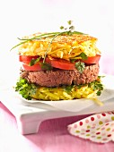 Grated potato cake hamburger
