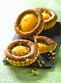 Poached peach and almond cream tartlet