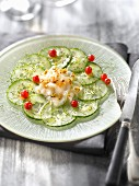 Cucumber,scallop and grated fried celeriac salad