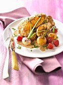 Roast young cockerel with raspberries and spring turnips