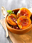 Nectarines roasted in pomegranate syrup