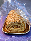 Almond rolled sponge cake
