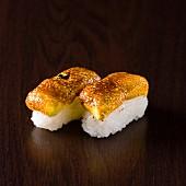 Caramelized egg sushis