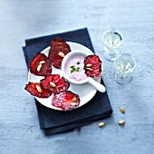 Beetroot crisps with radish and chervil creamy dip