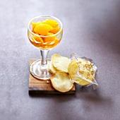Clementine fruit salad with honey crisps