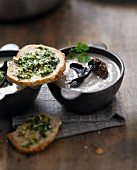 Cream of morel and black trumpet mushroom soup,parsley toasts