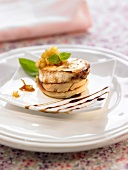 Blinis with foie gras and cheese