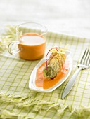 Chicory tempura with pumpkin cream