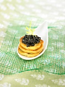 Blini-style omelettes with fish roe