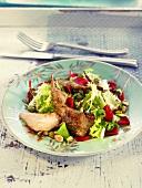 Quail, pistachio and flower salad