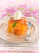 Individual citrus fruit jelly pudding