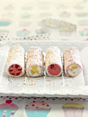 Coconut and summer fruit sweet rolls
