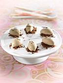 Vanilla ice cream quenelles