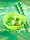 Green apple sorbet and lime jelly