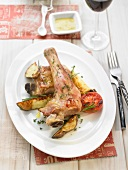 Oven-baked lamb with sauteed potatoes
