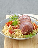 Morteau sausage with orange lentils
