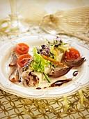 Rice pasta roll stuffed with flaked tuna