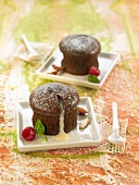 Dark chocolate fondant with a runny white chocolate filling